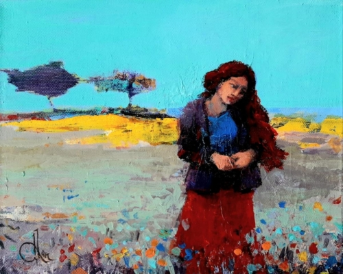 Bahar üzerine şiir20x25 tuval akrilik